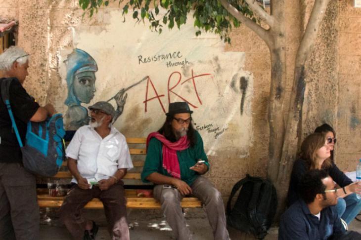 Participants outside the Freedom Theatre (photo: Ylenia Gostoli)
