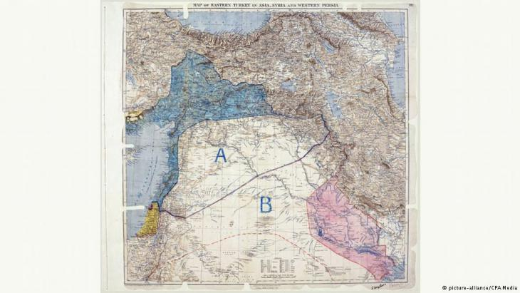 Historical map of the Sykes-Picot Agreement