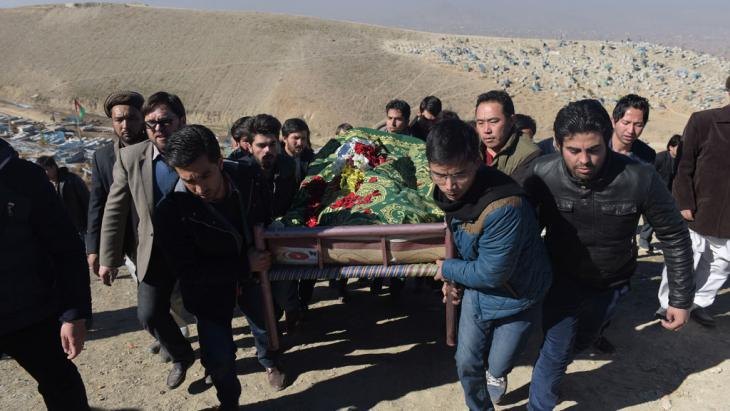 Burial of Saeed Jawad Hossini, a Tolo TV journalist, killed during the Taliban attack in January 2016 (photo: AFP/Getty Images/Shah Marai)