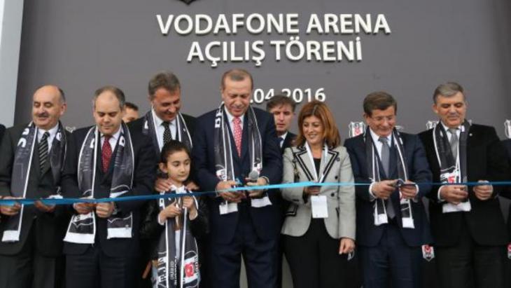President Recep Tayyip Erdogan at the inauguration of the new Besiktas stadium in April 2016 (photo: Reuters)