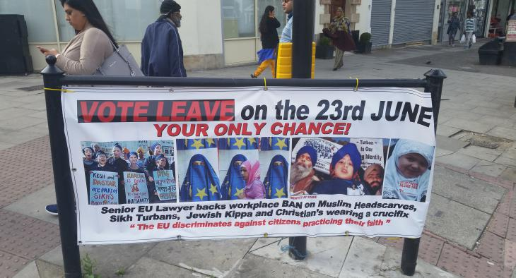 Poster from the Brexit campaign in Great Britain (photo: Sunny Hundal)