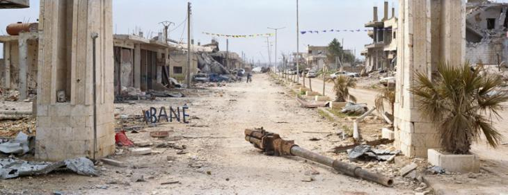 The arch on the road leading out of Kobani towards Aleppo, March 2015 (photo: Kai Wiedenhofer)