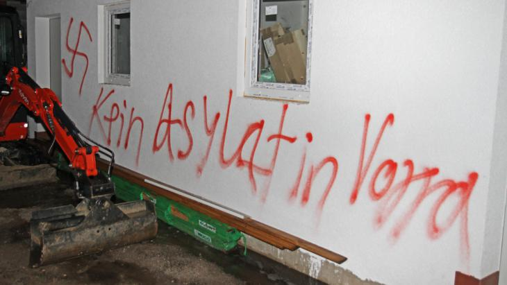 Arson attack in Vorra near Nuremberg on 12.12.2014. Three buildings earmarked as asylum shelters were set alight. ″No asylum seekers in Vorra″ (photo: picture-alliance/dps/ToMa)
