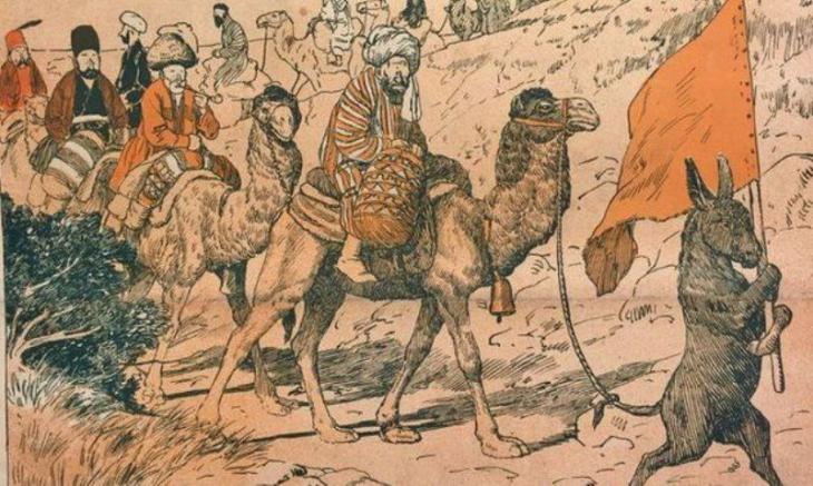 """The Haj pilgrimage"" caricature (source: Molla Nasreddin)"