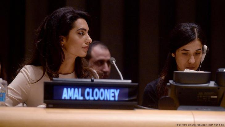 Lawyer Amal Alamuddin Clooney and Nadia Murad aim to bring IS before wants the Islamic State to be brought before the International Court of Justice (photo: picture alliance/abacapress)
