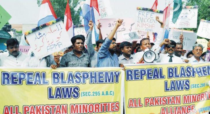 Protesters in Pakistan demonstrate against blasphemy laws