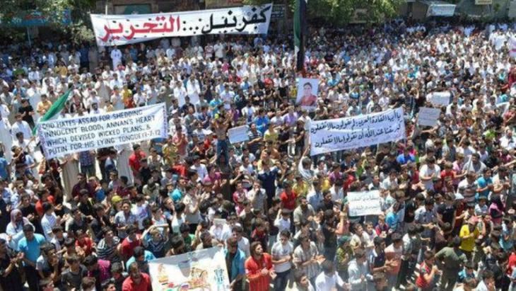 Anti-Assad demonstration in Kafranbel, close to Idlib (photo: Reuters