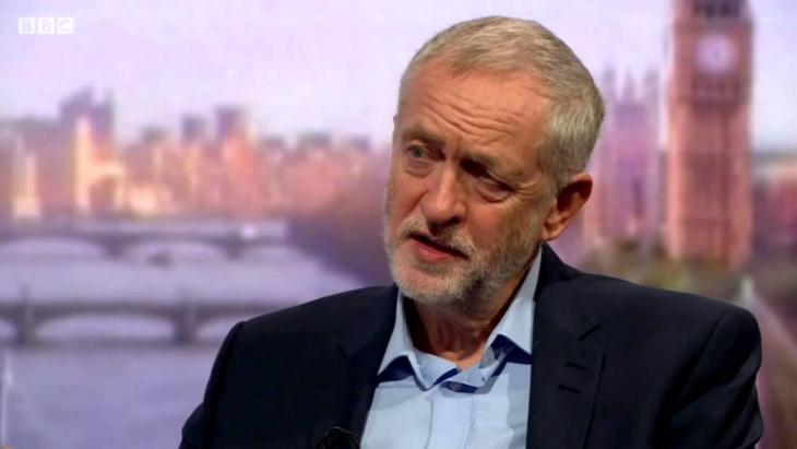 Jeremy Corbyn, leader of the UK Labour party, in interview on the Andrew Marr Show (source: YouTube)