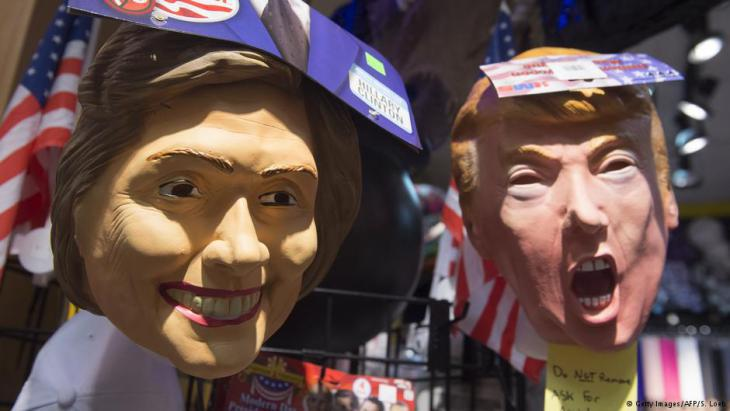 Hillary Clinton and Donald Trump puppets during the US presidential election (photo: Getty Images/AFP)