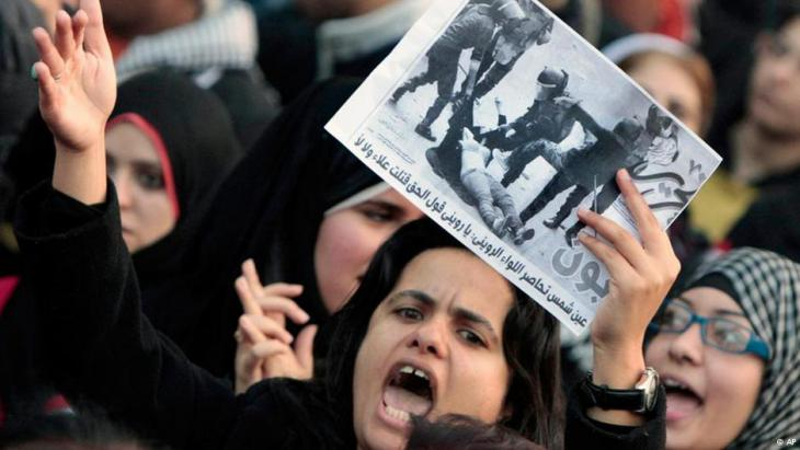 Women protest police treatment of a female protester in Cairo during the Arab Spring in 2011