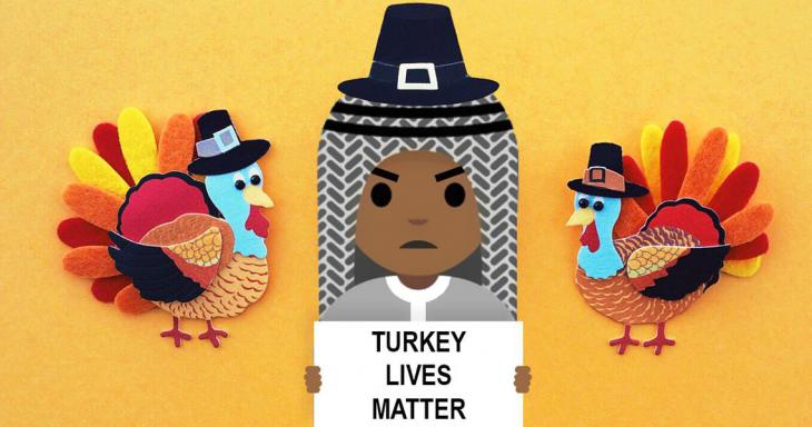 Noktara protests the mass slaughter of turkeys at Thanksgiving (source: Noktara)