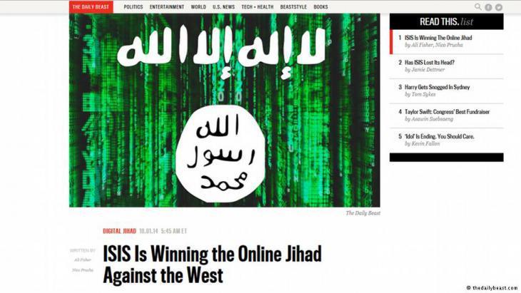 IS online jihad (screenshot taken from the Daily Beast)