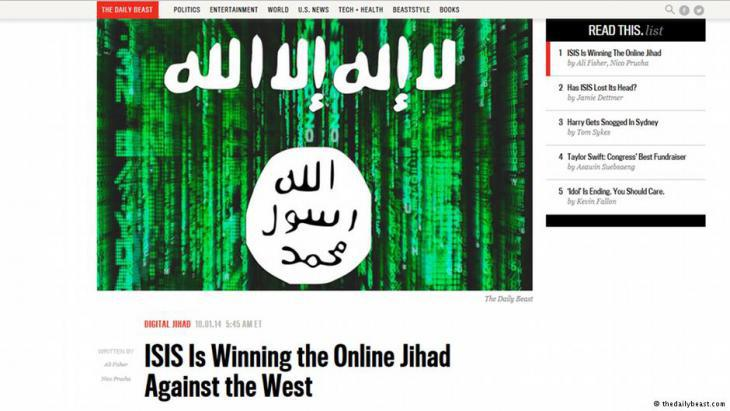 IS online jihad (screenshot taken from the Daily Beast)