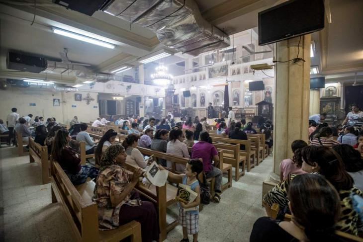 Coptic Christians attending a service in a former factory (photo: Flemming Weiss-Andersen)