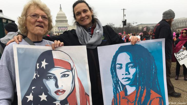 Women at the march in Washington on 21 January 2017 (photo: DW)