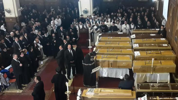 Funeral for the victims of the attack on the Church of St. Peter and St. Paul in Cairo (photo: dpa)