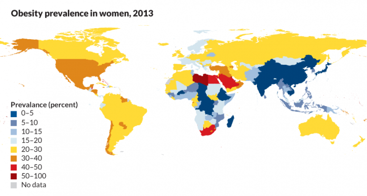 Prevalence of obesity in women 2013 (source: sciencenews.org)