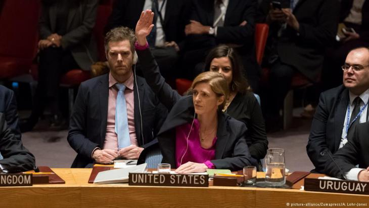 U.S. Ambassador to the U.N. Samantha Power abstains from the UN vote on 23 December 2016 demanding Israel put a stop to settlement building