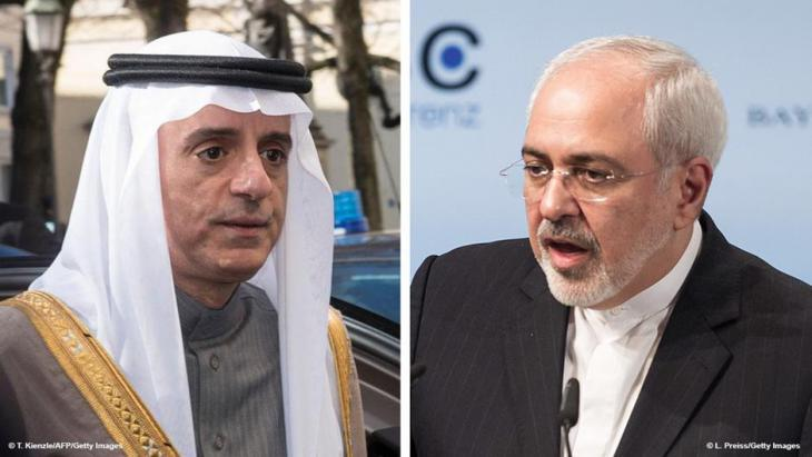 Saudi Foreign Minister Adel bin Ahmed Al-Jubeir and his Iranian counterpart Mohammed Jawad Sarif at the 2017 Munich Security Conference (photo: AFP/Getty Images)