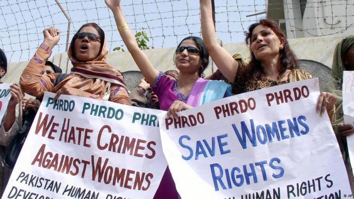 Pakistani women protesting women's rights on International Women's Day 2007