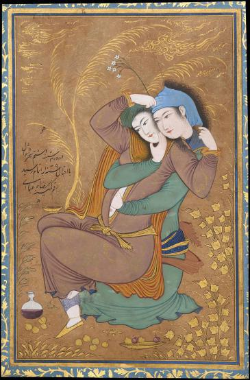 Persian miniature (1629-1630) by Reza Abbasi depicting lovers in an embrace (source: Wikipedia)