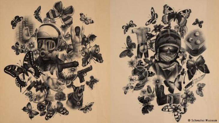 Black and white artwork by Erinc Seymen (photo: Schwules Museum)
