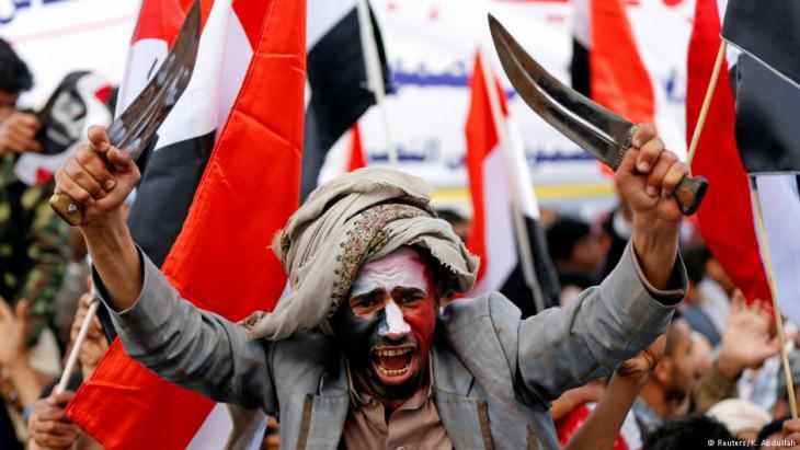 Dagger-waving Houthi rebels at a demonstration in Sanaa (photo: Reuters)