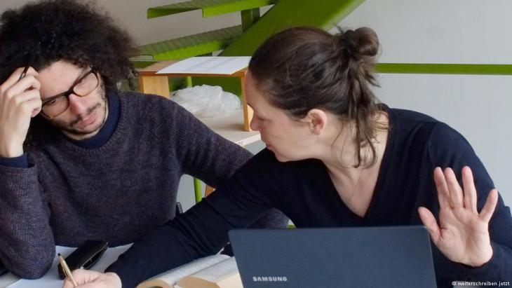 Ramy al-Asheq and Monika Rinck (photo: weiterschreiben.jetzt)