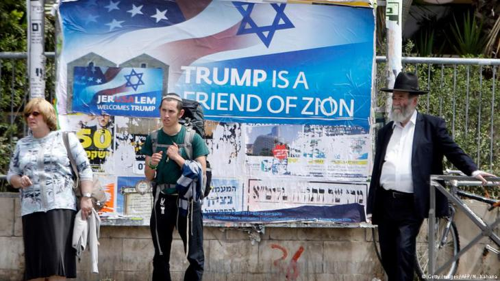 Pro-Trump poster in Israel (photo: Getty Images/AFP/M. Kahana)