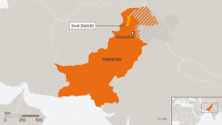 A map of Pakistan highlighting the Swat District (source:DW)