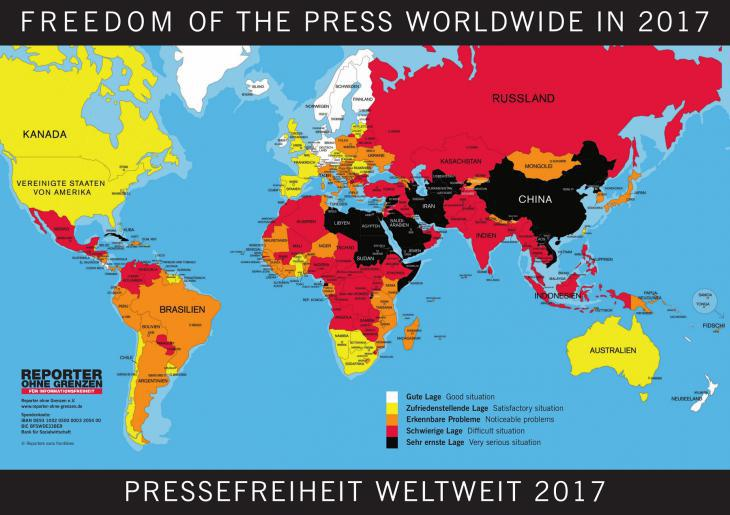 Freedom of the Press Worldwide in 2017 (source: Reporters without Borders)