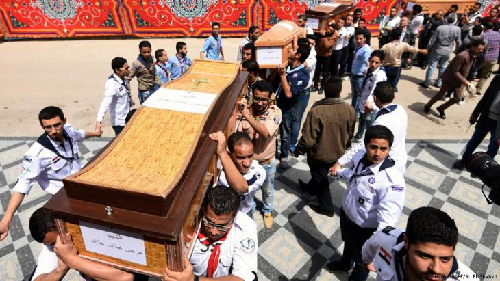 Funeral for Copts murdered during the attack on Saint Mark′s Church in Alexandria (photo: Mohamed El-Shahed/AFP/Getty Images)