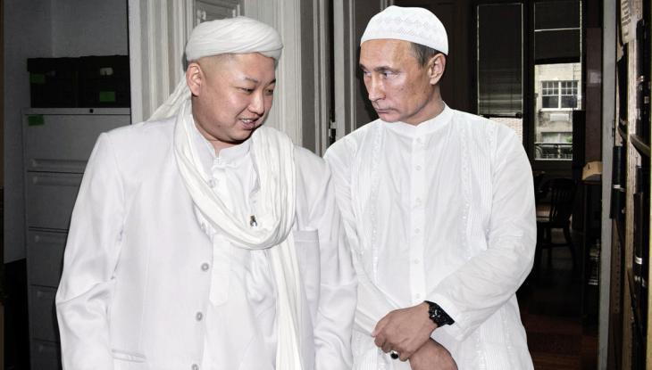 Vladimir Putin and Kim Jong Un wearing hajj robes (source: Agan Harahap/Instagram)