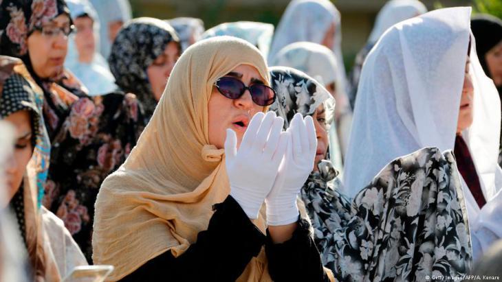 Iranian Muslim women performing Eid ul-Fitr prayers on 26.06.2017