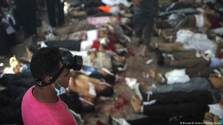 Bodies of protesters following the forced clearance of their camp on Rabaa al-Adawiya Square in Cairo (photo: AFP/Getty Images)