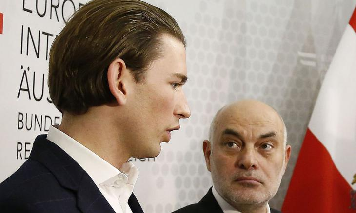 Ednan Aslan (right) with the Austrian Foreign Minister Sebastian Kurz at a press conference (photo: Austrian Foreign Ministry/Dragan Tratic)