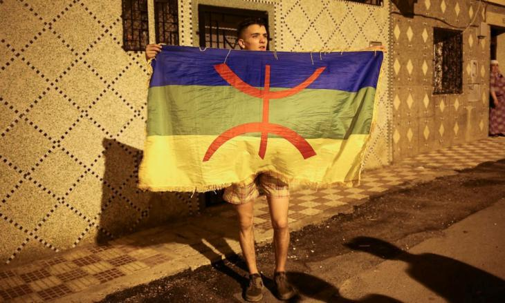 A supporter of the Moroccan Berber movement demonstrating in Rabat (photo: Thérèse Di Campo)