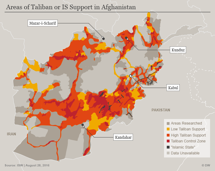 Resurgent Taliban influence in Afghanistan (source: DW)