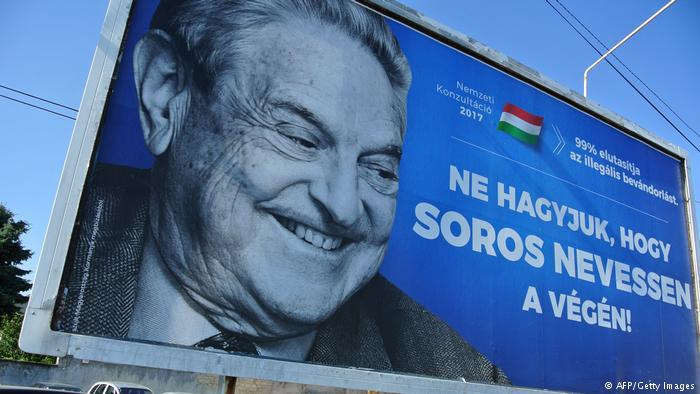 "Hungarian anti-migrant billboard campaign featuring a picture of George Soros and the caption, ""Let's not let Soros have the last laugh"" (photo: AFP/Getty Images)"