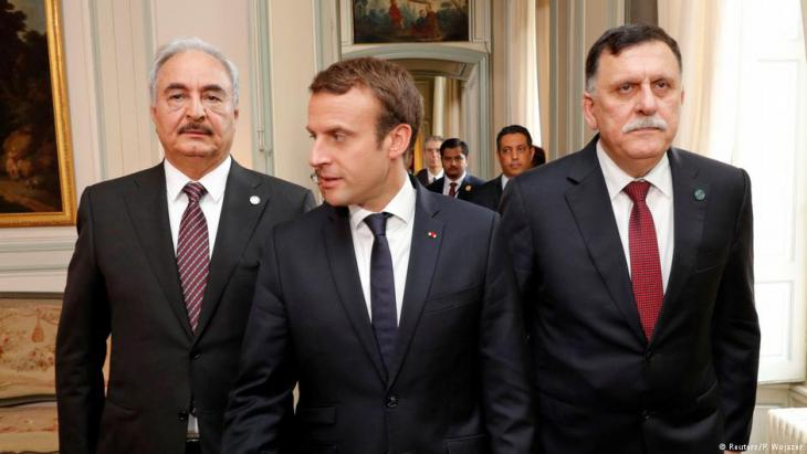 In Paris for talks, July 2017. French President Emmanuel Macron is flanked in Paris by Libyan Prime Minister Fayez al-Sarraj of the Government of National Accord (left) and General Khalifa Haftar, head of the Libyan National Army (photo: Reuters)