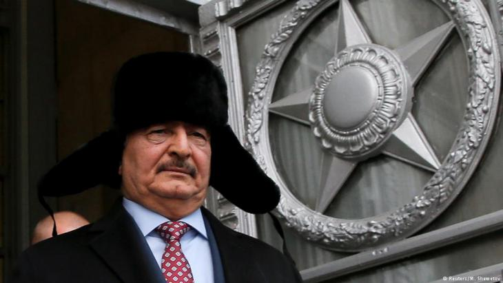 Libyan General Haftar following a meeting with the Russian Foreign Minister Lavrov in Russia, November 2016