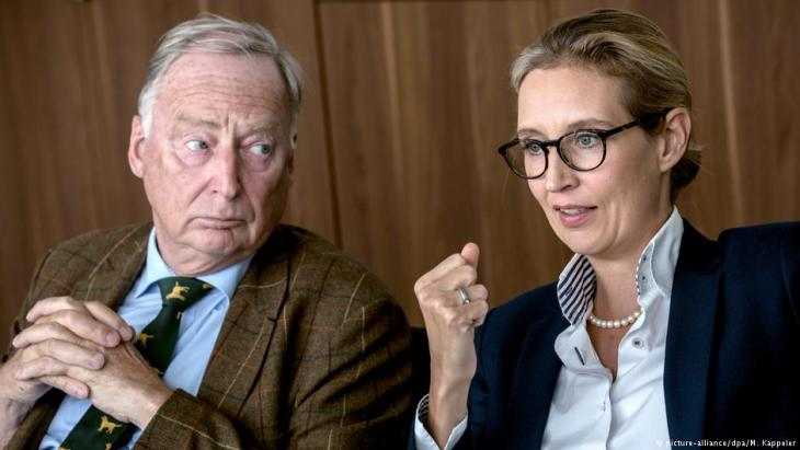 Alice Weidel and Alexander Gauland, leaders of the right-wing populist Alternative fur Deutschland party (photo: picture-alliance/dpa/M. Kappeler)
