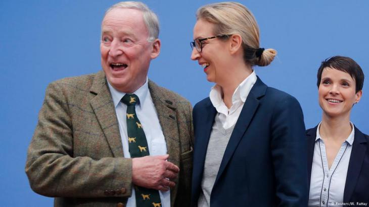 Alexander Gauland, Alice Weidel and Frauke Petry following the success of the AfD on 24.09.2017 (photo: Reuters)