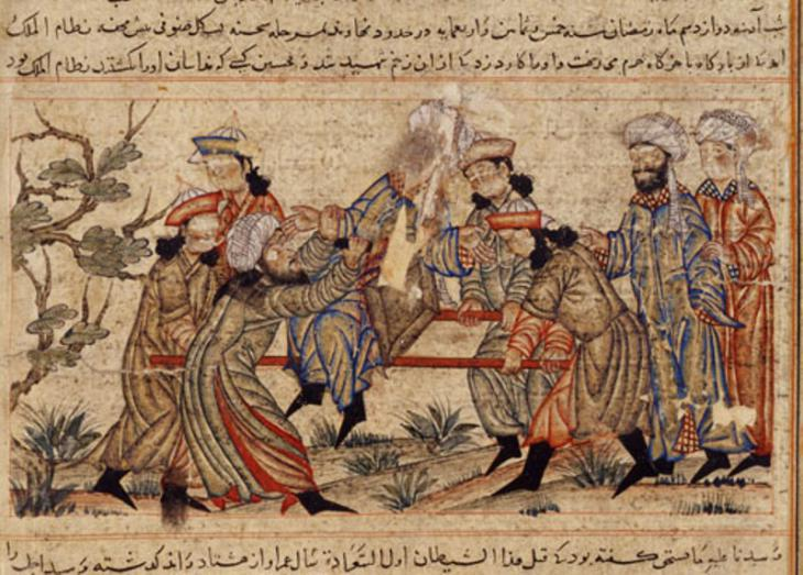 "An agent (fida'i) of the Ismailis (""Order of Assassins"") (left, in white turban) fatally stabs Nizam al-Mulk, a Seljuk vizier, in 1092 (source: Wikimedia Commons; Public Domain)"