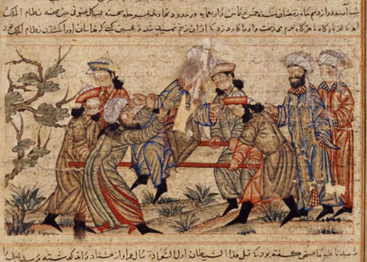 "An agent (fida'i) of the Ismailis (""Order of Assassins"") (left, in white turban) fatally stabs Nizam al-Mulk, a Seljuk vizier, in 1092 (source: Wikimedia Commons; Public Domain)"