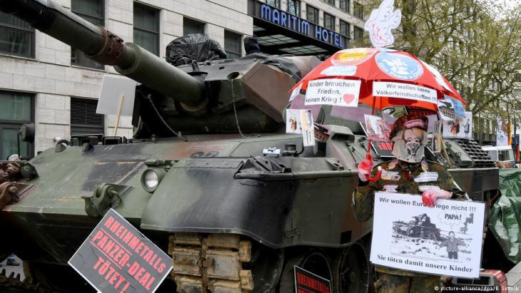 Protesting German arms exports in Berlin (photo: dpa)