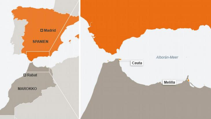 Graphic showing Morocco and Spain with the Spanish exclaves Ceuta and Melilla (source: DW)