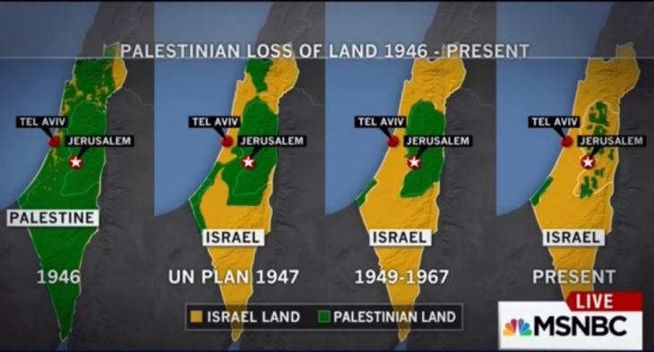 Palestinian loss of land: 1946 - present (source: MSNBC)