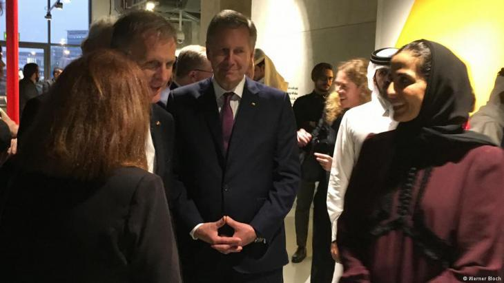 Former German President Christian Wulff (centre) was also part of the German delegation. Right in shot is Sheikha Mayassa (photo: Werner Bloch)