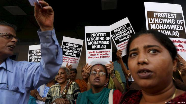 Demonstrators protest the killing of Mohammed Akhlaq, a Muslim suspected of slaughtering a cow; Bombay, October 2015 (photo: Reuters/Shailesh Andrade)